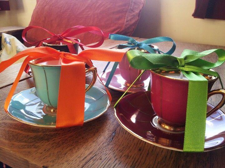 Retro tea cup candles by eyecandy vintage