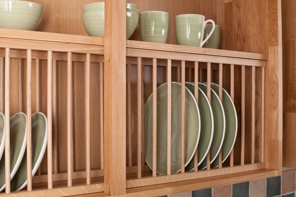 Solid Wood Oak Plate Rack Kitchen Racks From Cabinet