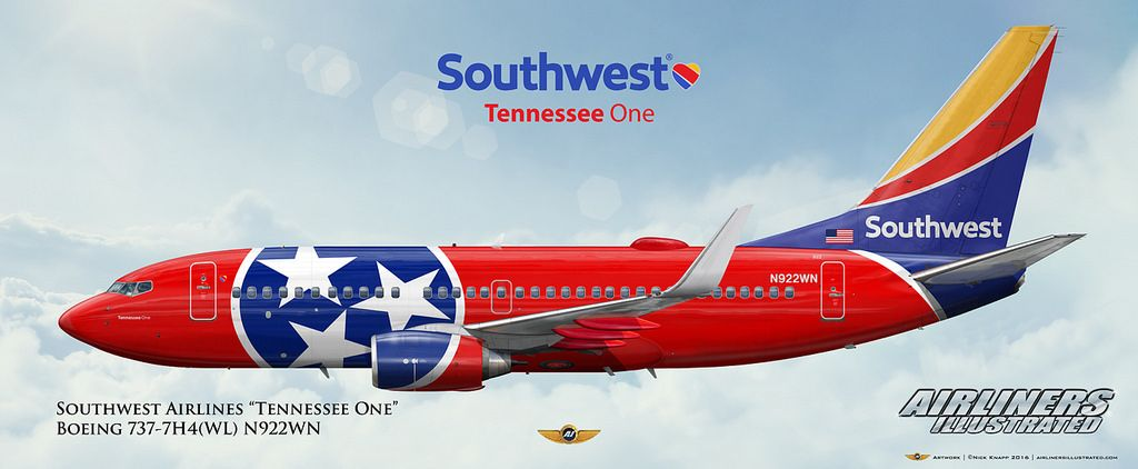 https://flic.kr/p/KnzgZS | Southwest Airlines Tennessee One Boeing 737-7H4(WL) N922WN Aircraft Profile Art | Airliners Illustrated® by Nick Knapp©. www.AirlinersIllustrated.com