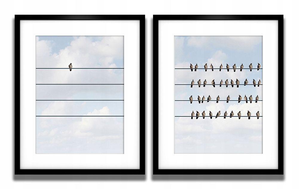 Komplet 2 Plakaty W Ramach 40x50 Ptaki Na Drucie Light Box Cinema
