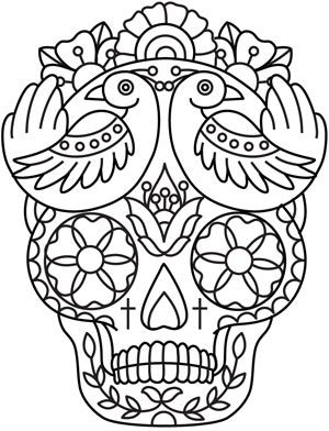 Day Of The Dead Mask Coloring Page Skull Coloring Pages Free