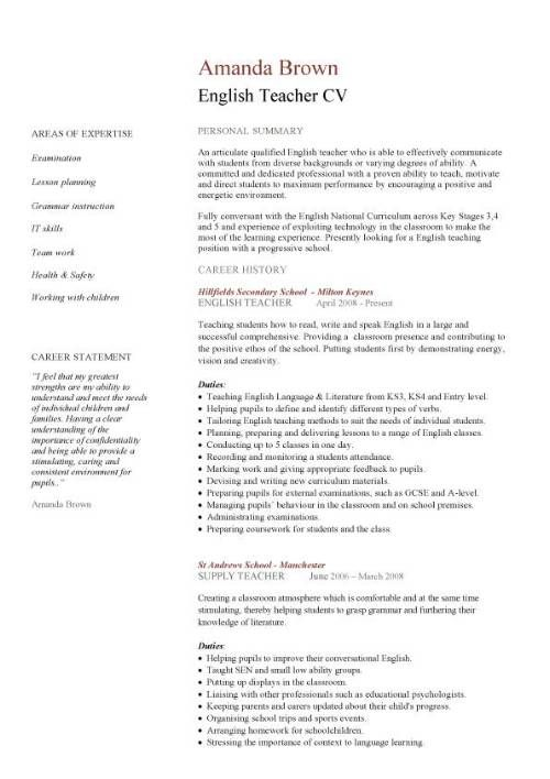 English Teacher Resume No Experience Http Www Resumecareer Info