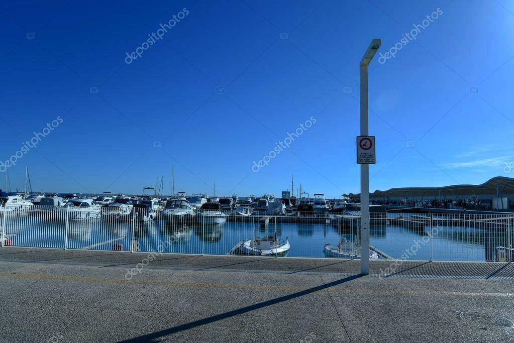 Harbor Morning Boats Beautiful Seascape Stock Image ,Touristic Harbor Morning Boats Beautiful Seasc