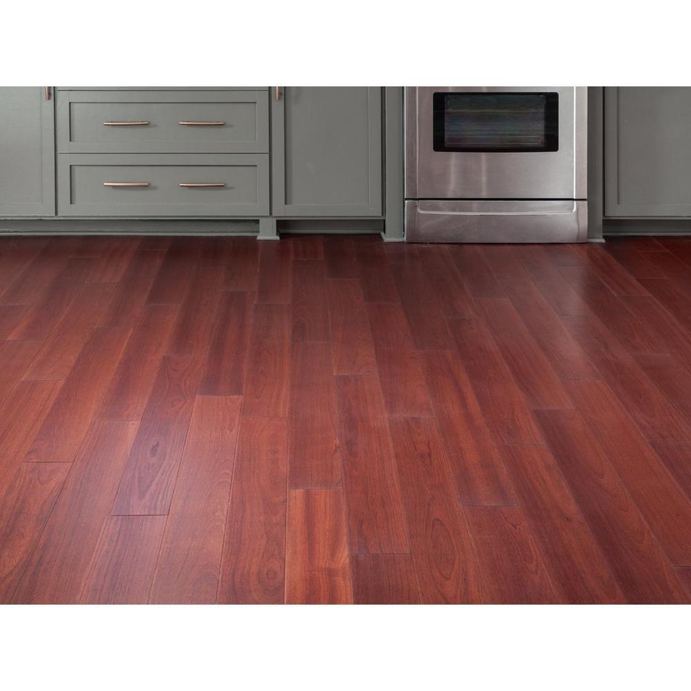 Brazilian Cherry Smooth Water Resistant Engineered Hardwood In 2020 Hardwood Floors In Kitchen Cherry Wood Floors Brazilian Cherry Hardwood Flooring