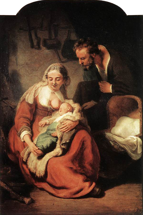 "REMBRANDT Harmenszoon van Rijn ""Sacra famiglia"", 1635 circa.  Olio su tela 183,5X123,5cm Alte Pinakothek - Monaco"