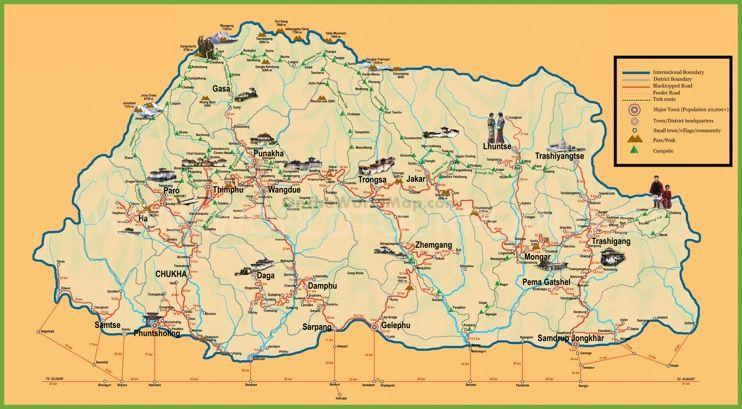 Tourist map of Bhutan Maps Pinterest Tourist map and Bhutan - best of world map with ecuador