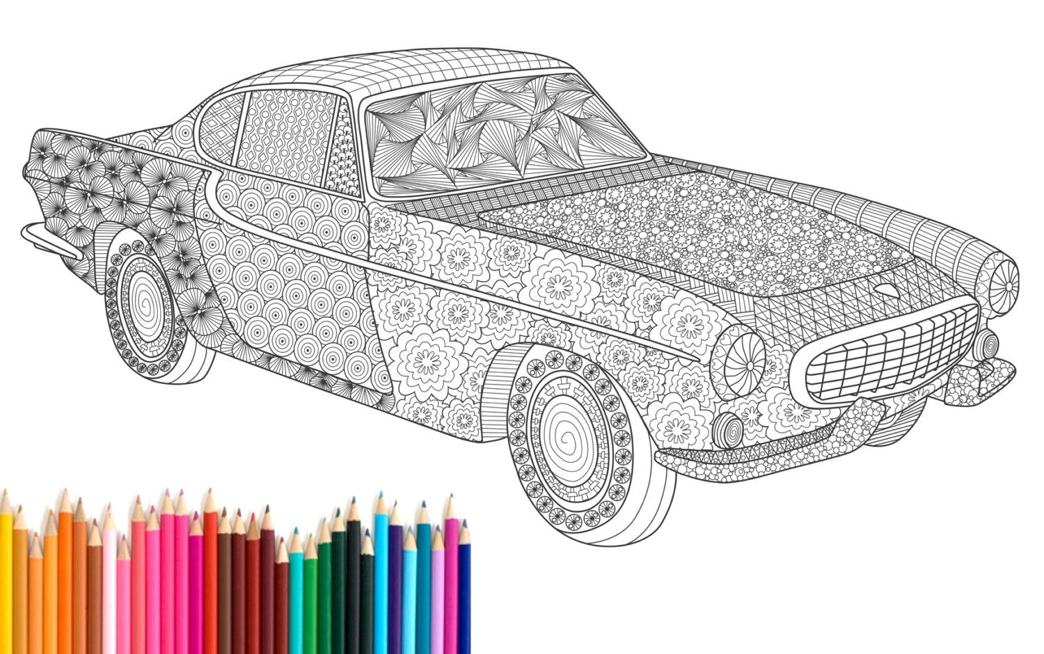 Pdf printable adult coloring page zentangle volvo p1800 oldtimer poster instant download zendoodle car unique art drawing ink by recyman on etsy