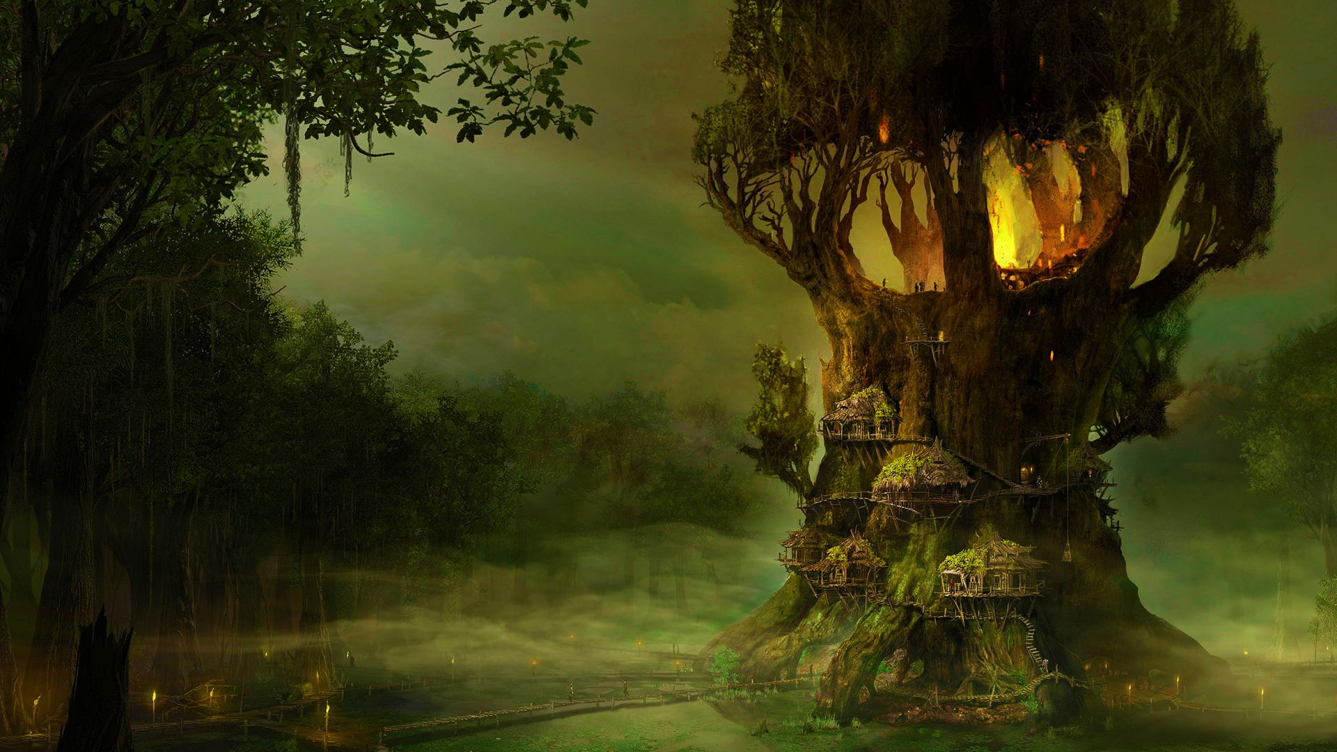 Elf pictures and images elves tree village wallpaper for Quality wallpaper for home