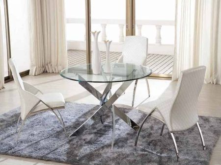 Cross Clear Glass Round Dining Table With X Shaped Chrome Base