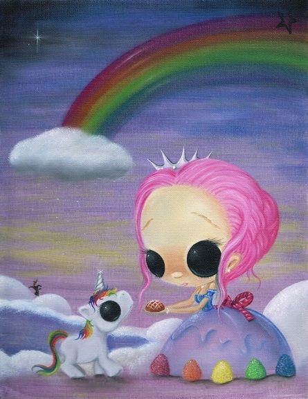 Only love and laughter. http://www.ebay.com/itm/LOWBROW-SUGAR-UNICORN-LOVE-RAINBOW-CANDYLAND-CREEPY-CUTE-BIG-EYE-ART-PRINT-/110981519059?pt=Art_Prints=item19d70396d3