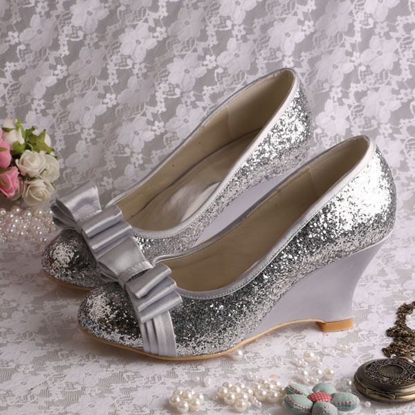 Click To Buy Wedopus Silver Glitter Closed Toe Wedge Shoes Wedding Bow