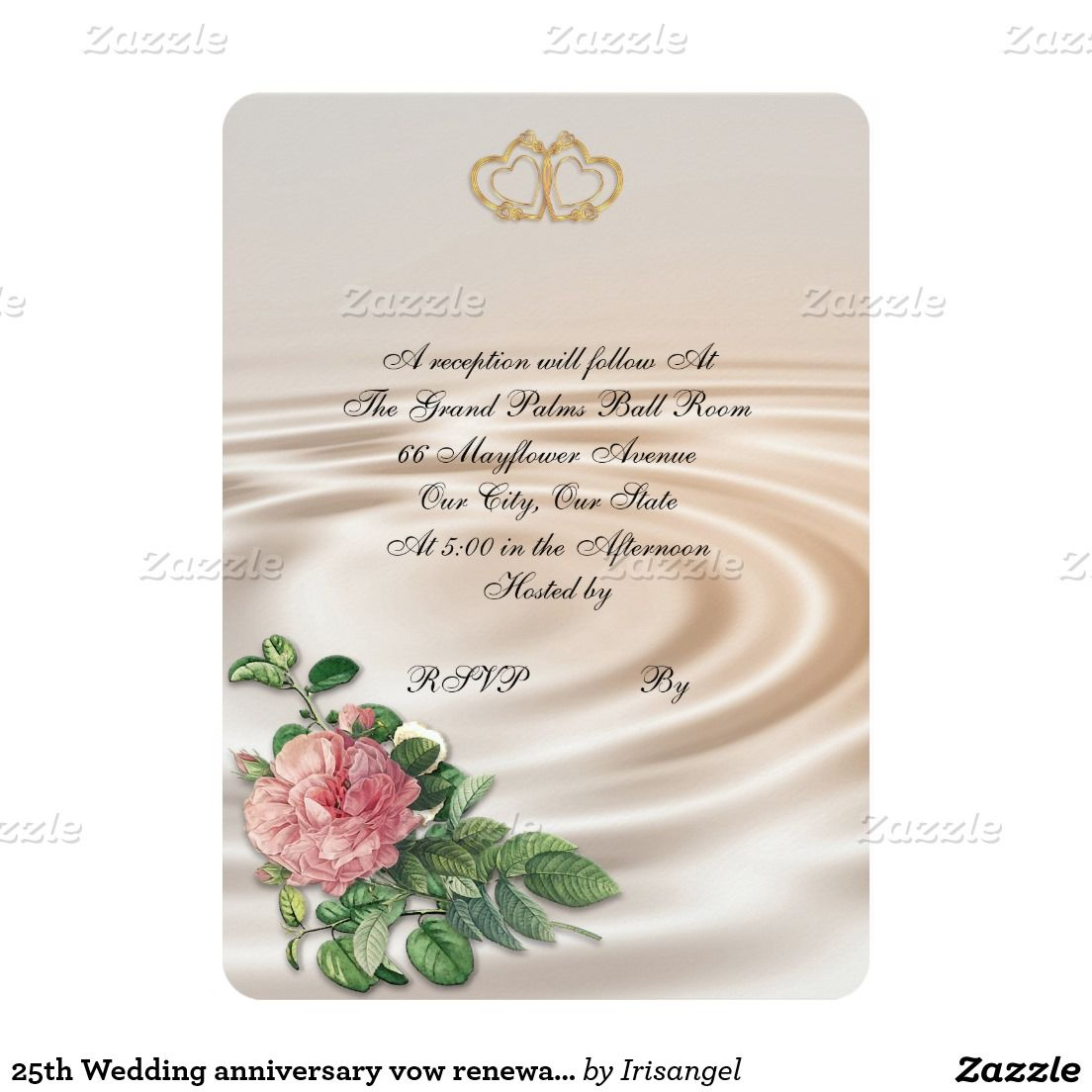 25th Wedding Anniversary Vow Renewal Pink Rose Card