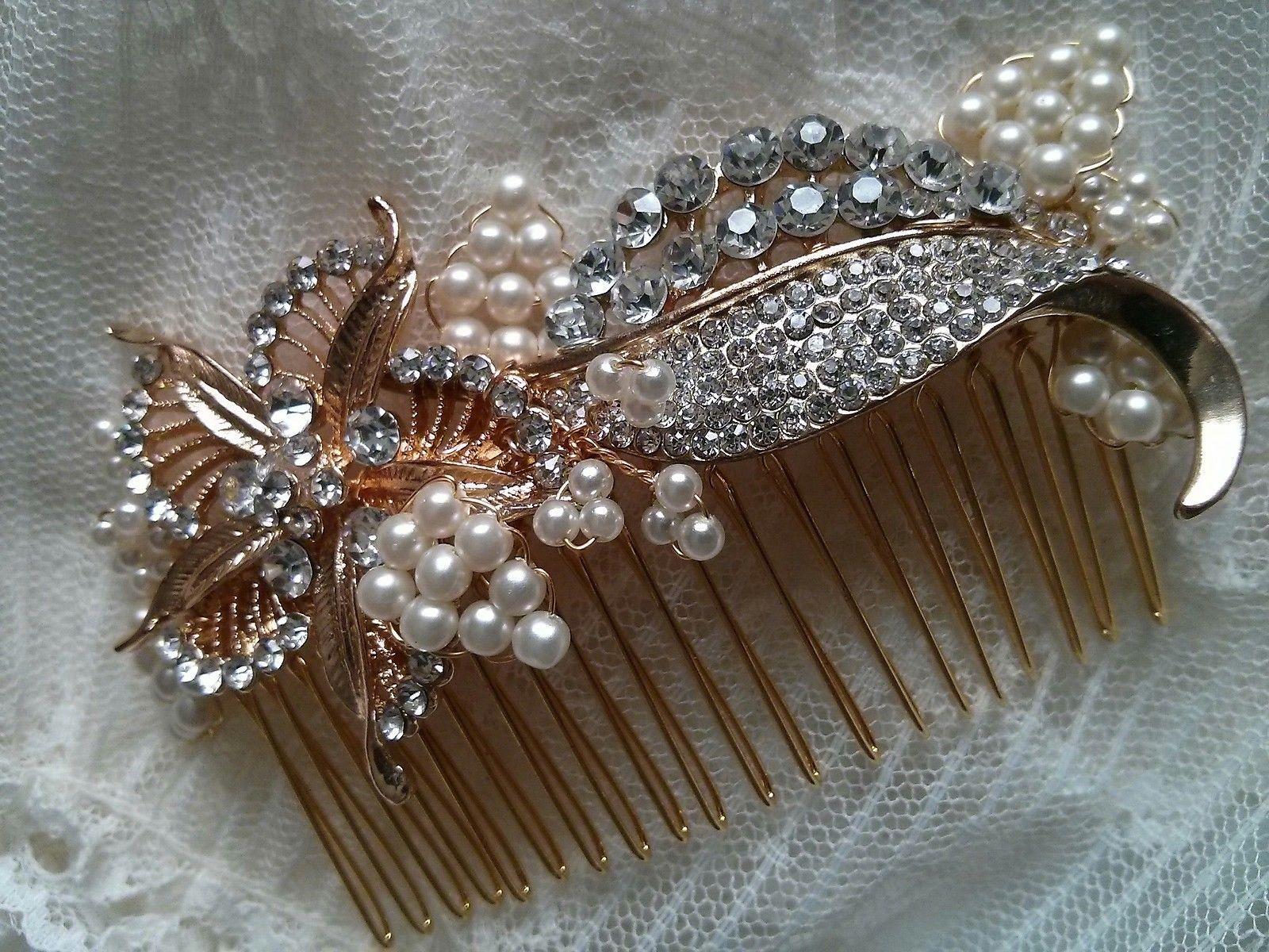 wedding bridal hair comb accessory crystal floral leaf