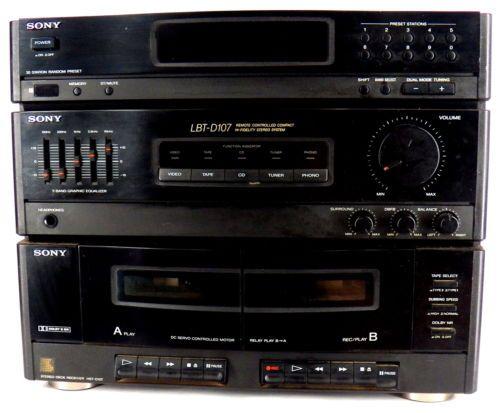 Sony Stereo Reciever Double Cassette Deck HST D107   eBay
