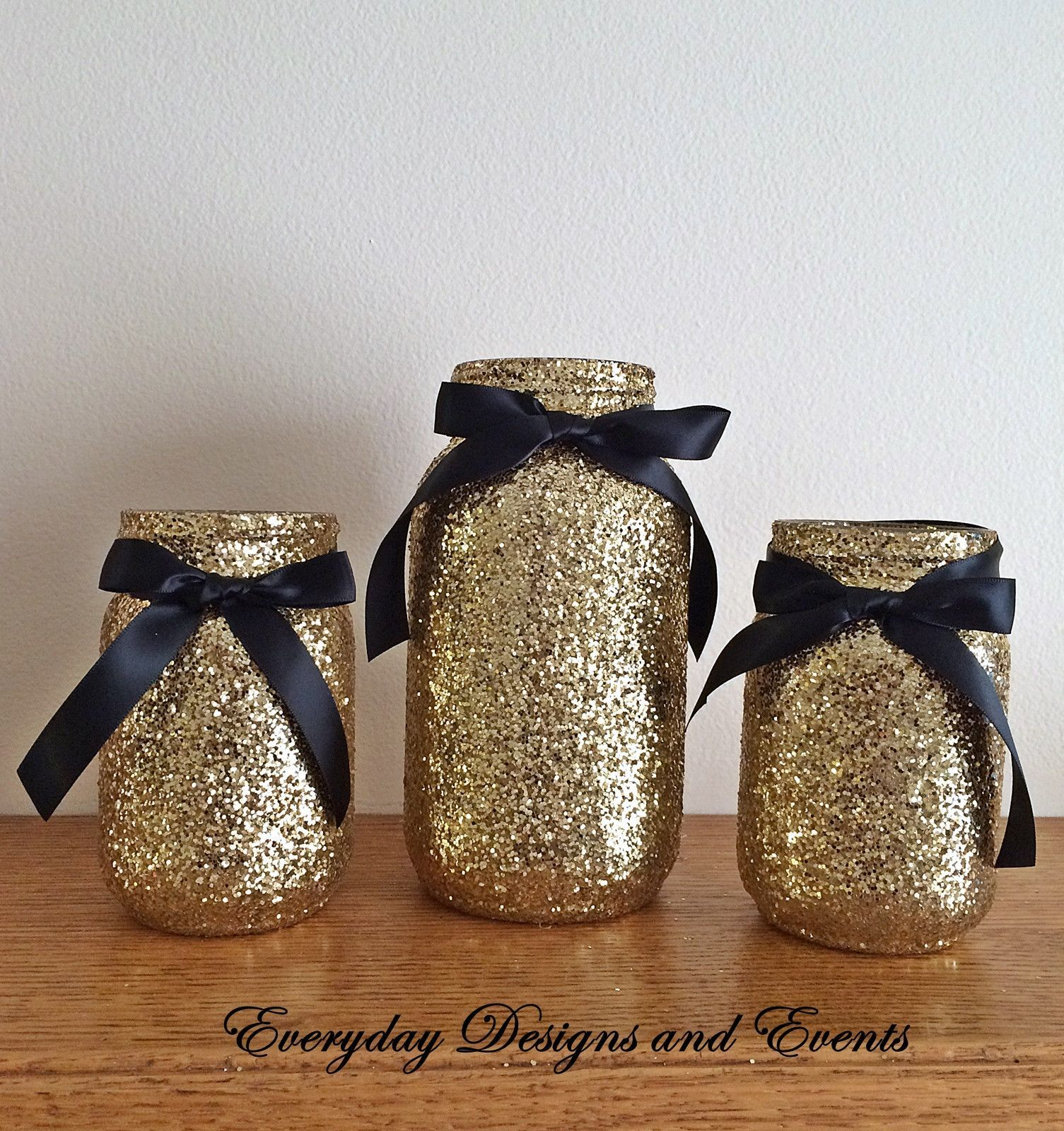 3 Jars Black And Gold Mason Jar Set Centerpiece Set Black And