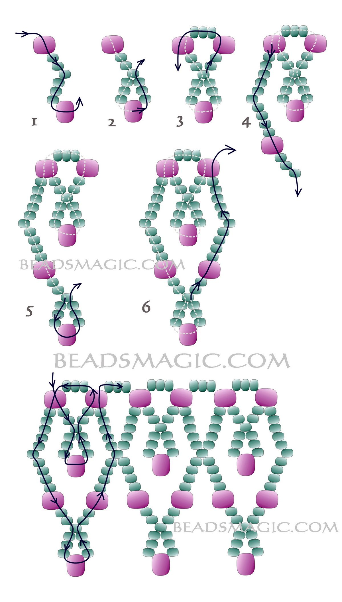 necklace for lace beading com bead seed beaddiagrams free necklaces pattern