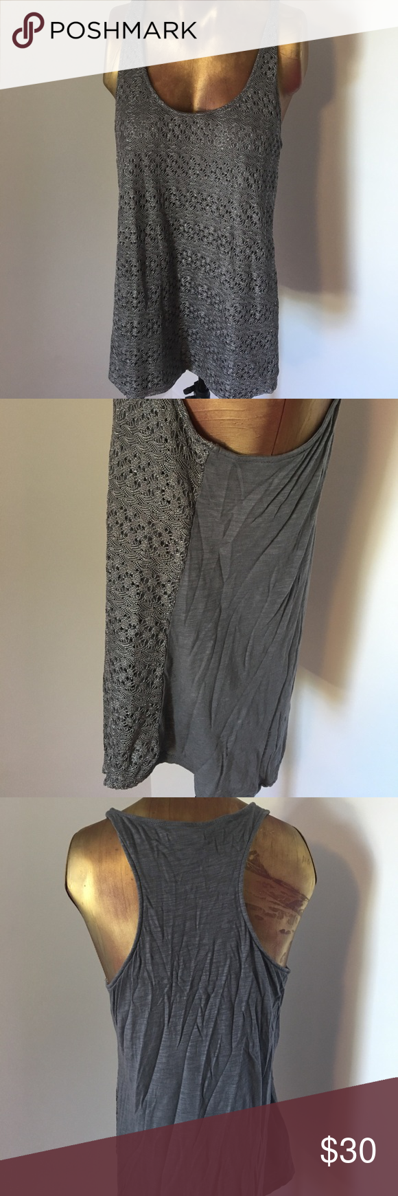 Lucky Brand Crochet front Racerback Tank Large Silvery grey colored racerback tank. Silver tone crochet overlay on the front half of the shirt. 🍀 Lucky Brand size large. Lucky Brand Tops Tank Tops
