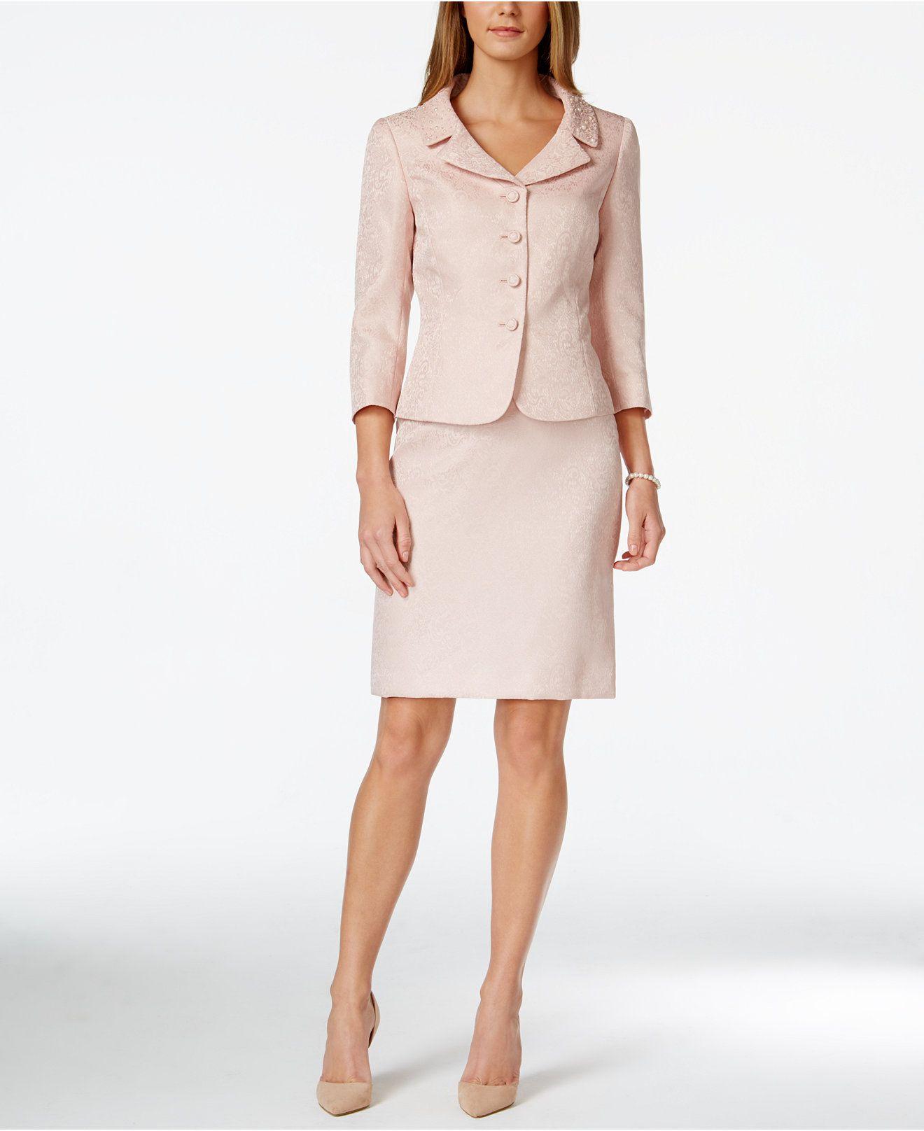 522ac733b5c9 Tahari ASL Jacquard Bead-Trim Jacket Skirt Suit - Wear to Work - Women -  Macy's
