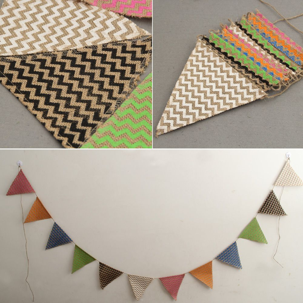M jute hessian burlap bunting multicolor banner home decoration
