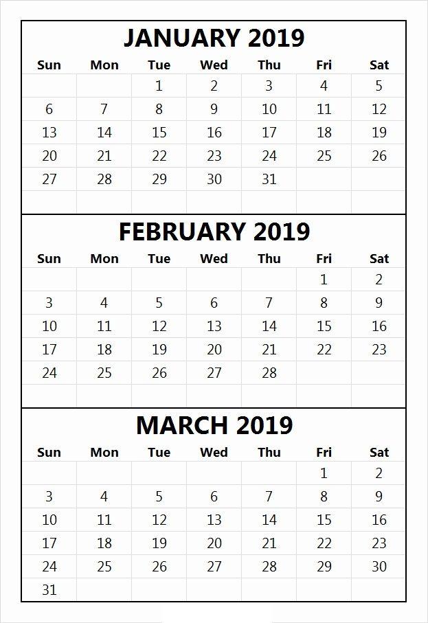 January February 2019 Calendar Printable Template Free Download