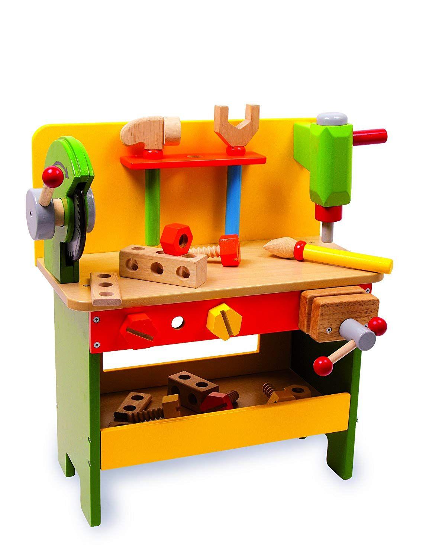 Werkbank aus Holz ab 3 Jahren, verschiedene Holzspielzeuge ...
