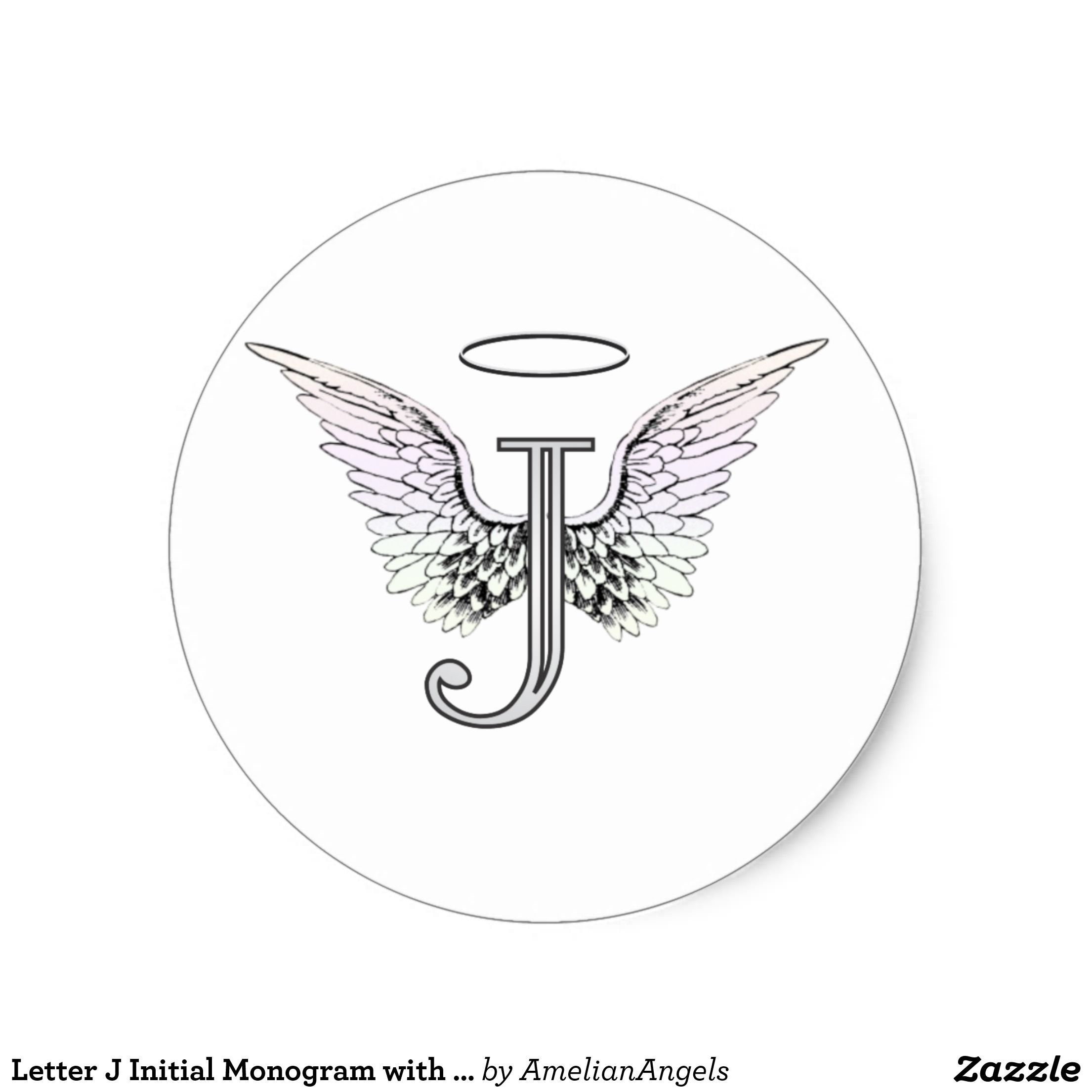Letter J Initial Monogram With Angel Wings Amp Halo Classic