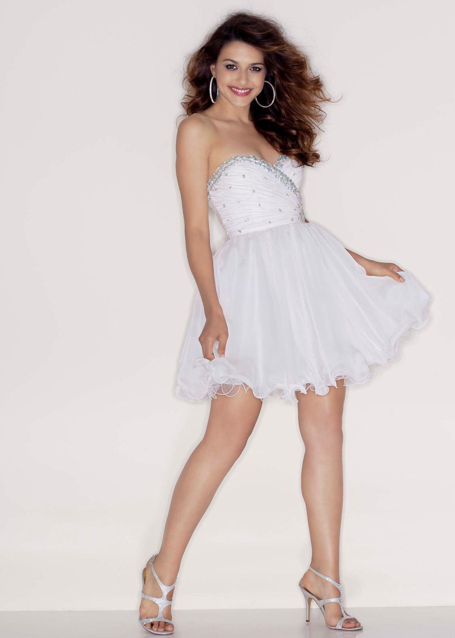 Stunning Beaded White Chiffon Short Prom Dress - Sticks and Stones ...