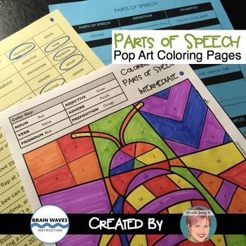 Parts Of Speech Coloring For All Year Fun Art Infused Spring Activity More Parts Of Speech Pop Art Coloring Pages Art With Jenny K
