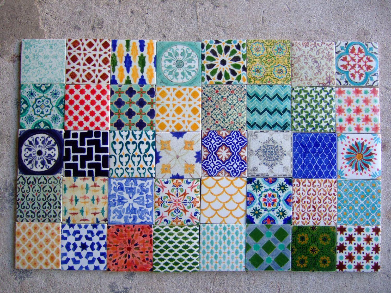 Handpainted Morrocan Tile Splashback Set of 40 by Terethsheba ...