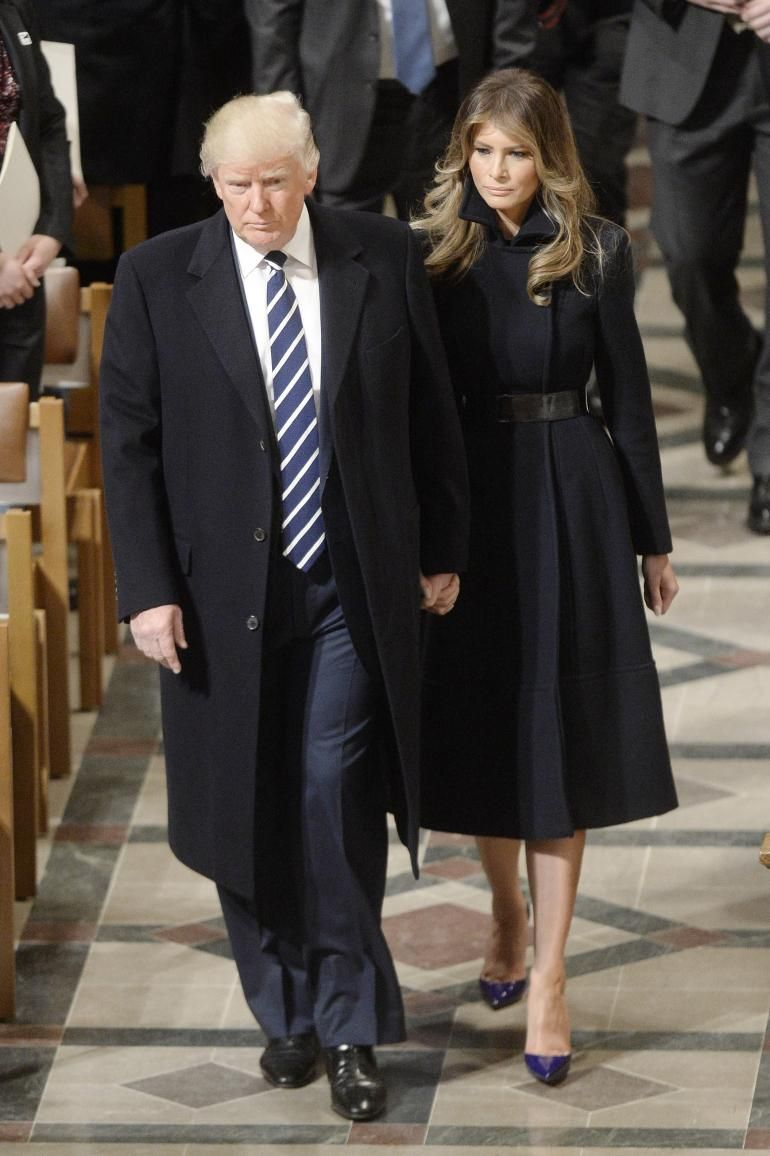 6aa7268f1bbd U.S. First Lady Melania Trump.. Alice Roi (co-designed with Melania) navy  cashmere and wool coat and belt