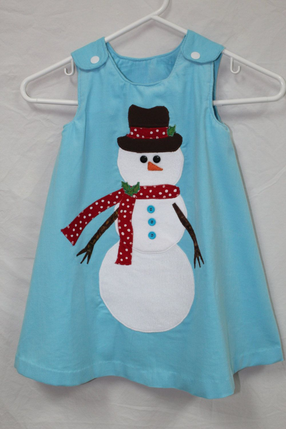 Light Blue Corduroy A Line Snowman Jumper by DollyWollySewing on Etsy