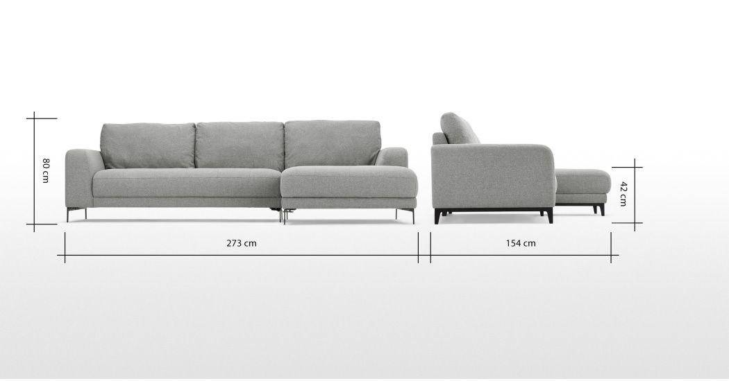 Luciano Right Hand Facing Chaise End Corner Sofa Mountain Grey Canape Angle Gris Perle Canape