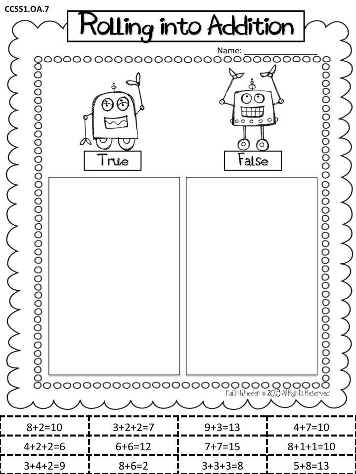 Robot Rolling into Addition Freebie | Math | Pinterest | Die schule ...