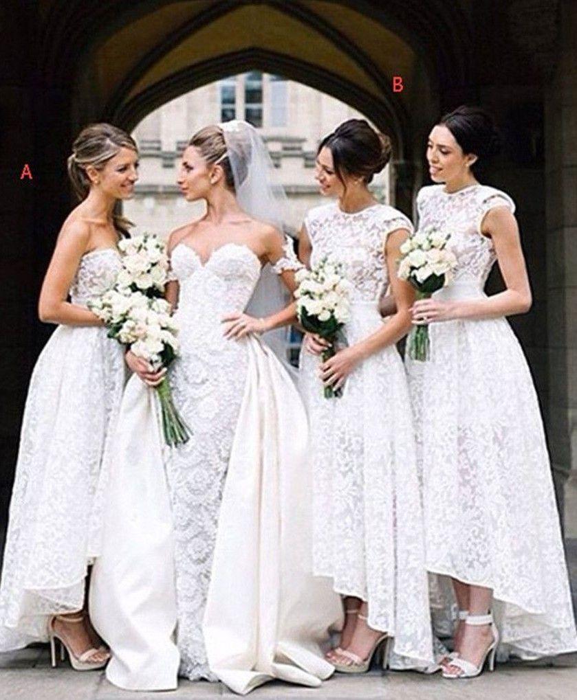 139€ Günstig Brautjungfernkleider lang Spitze A Linie Kleider ...
