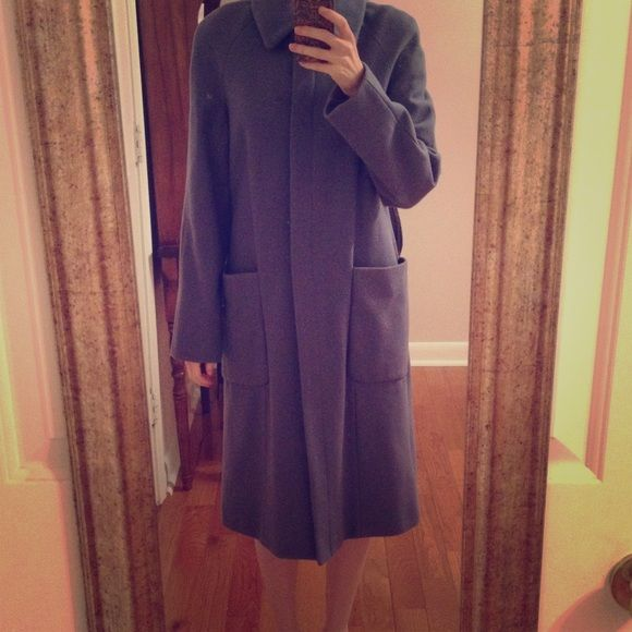 GAP Blue Wool Long Dress Coat Hook at top with button down front. Two front large pockets. Lined. Wore once. Excellent shape. GAP Jackets & Coats