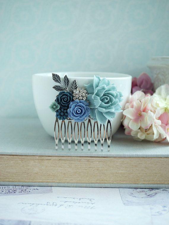 Powder Blue Rose Comb Rhinestone Sprig Leaf Dusty Unique Flower Vintage Rustic Wedding Prom Graduation Shades Of