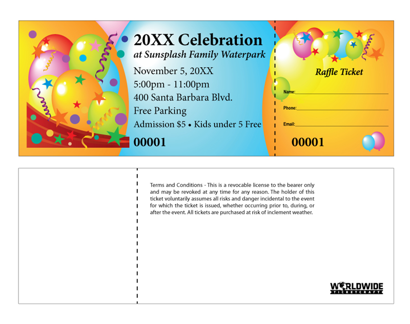 Make It Unforgettable With These Celebration Themed Raffle Tickets. Our  How To Make Tickets For An Event For Free