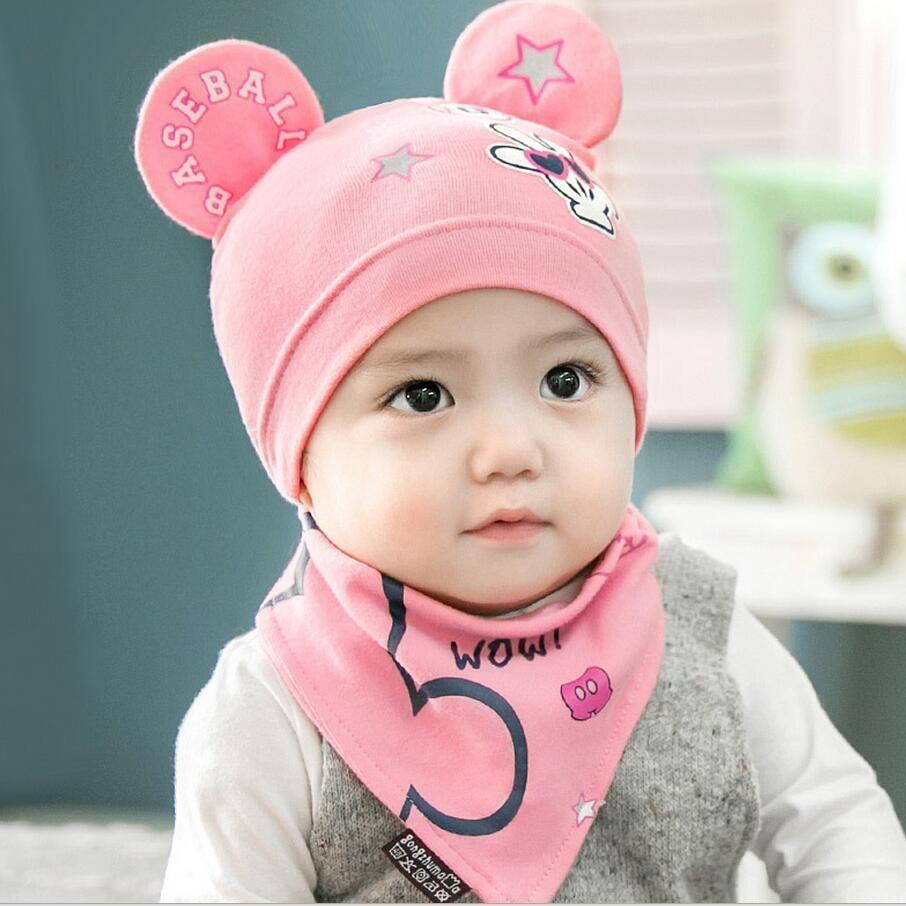 eda7825cae0 2 pcs set New Baby Hat Bib Set Cartoon Cotton Beanie Baby Boy Girls Hats  Kids Hat