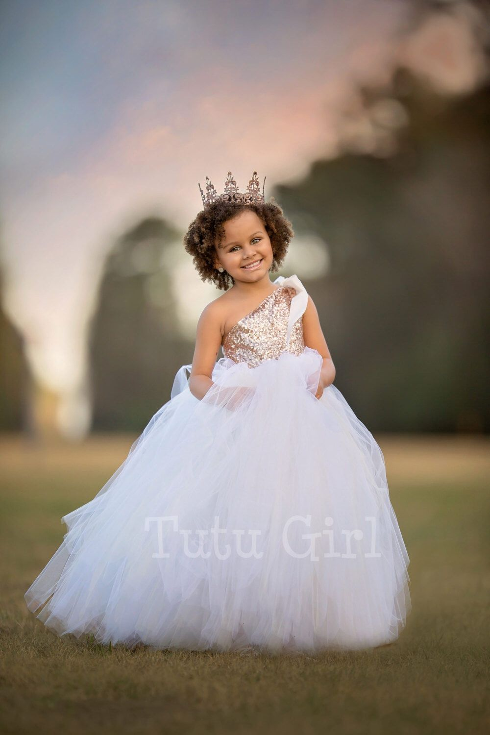 One Shoulder Flower Girl Dress Blush Gold And Off White Tutu Flower