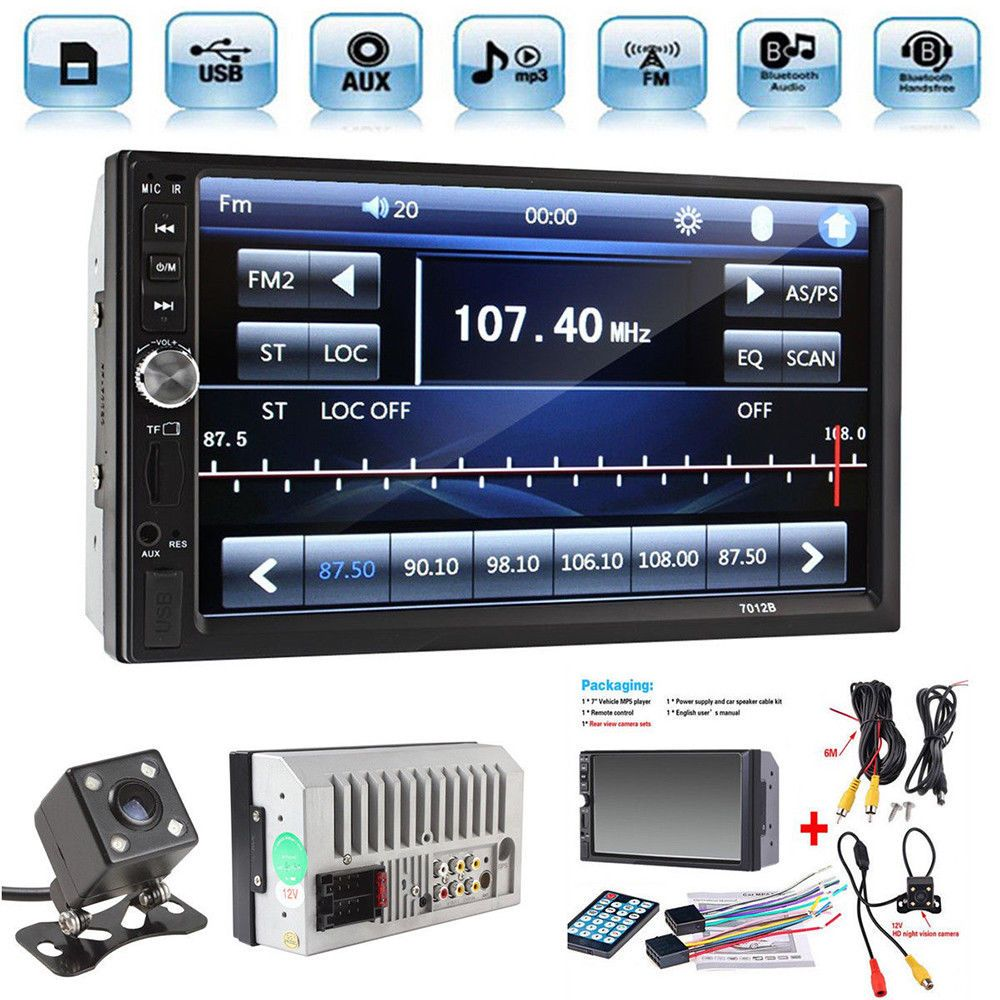 2Din 7 Touch Screen FM Bluetooth Radio Audio Stereo Car Video Player GPS Camera