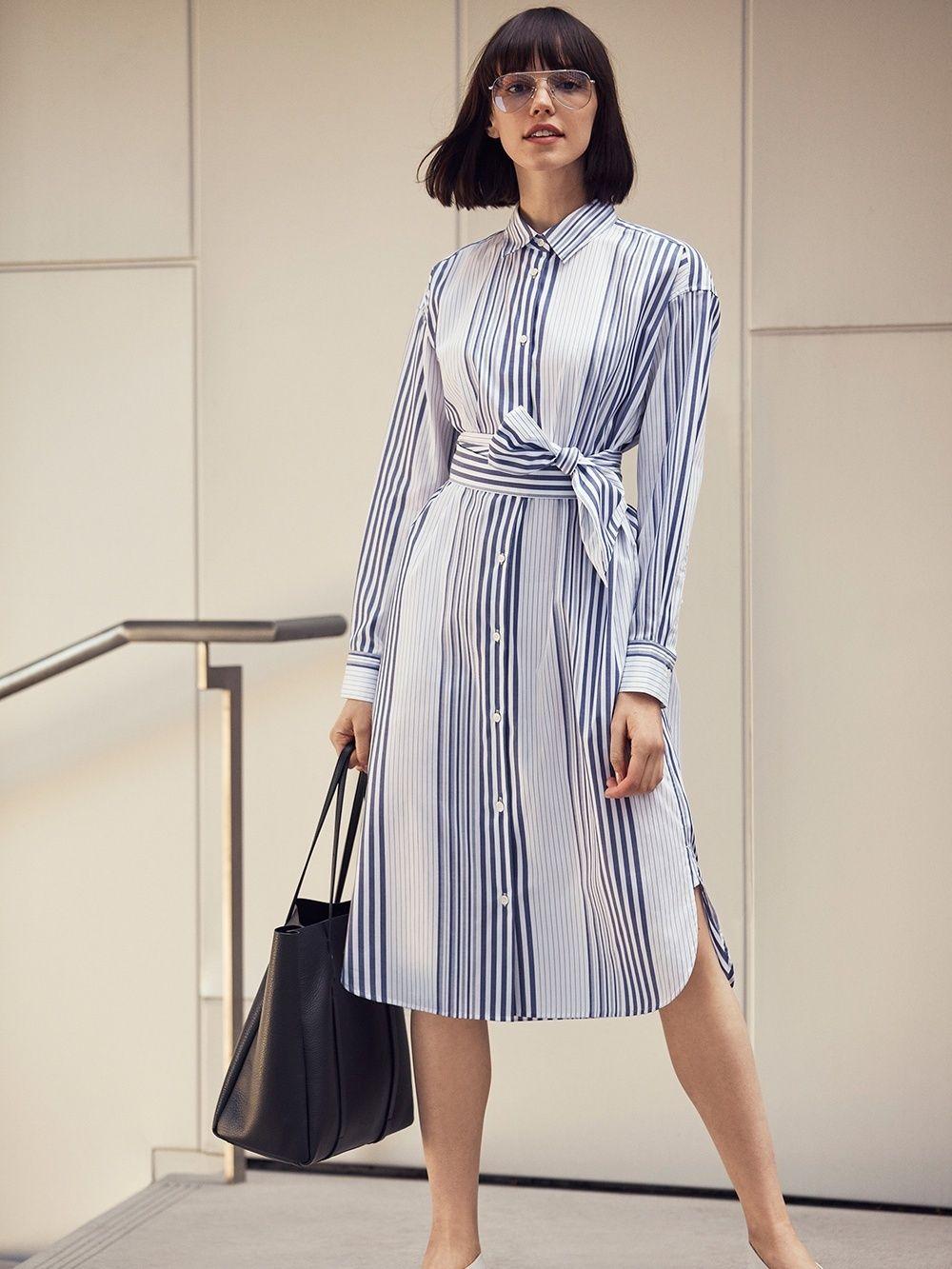 Coton Femme Longues Manches Chemise Robe ✖ Uniqlo Rayée ✖️i ZqnXfZE