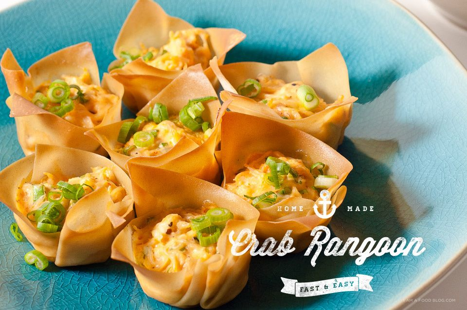 Easy 6 ingredient oven baked crab rangoon recipe using wonton wrappers