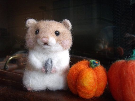 Felted Hamster with a sunflower seed by YukisWoolPets on Etsy, $21.00