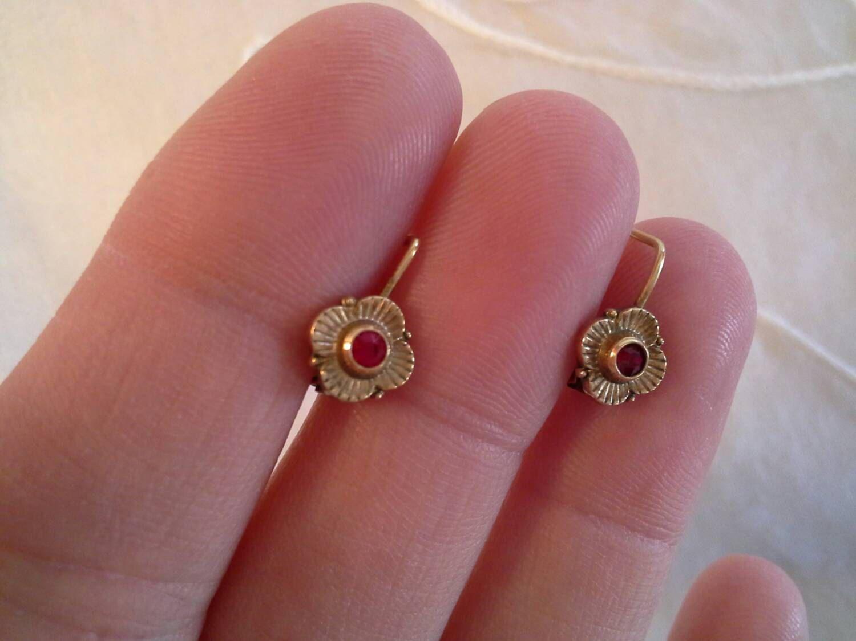 Red Stone Earrings, Little Girl Earrings, Baby Earrings ...