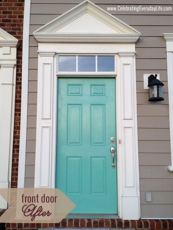 Amazing Turquoise Front Door, Celebrating Everyday Life With Jennifer Carroll    Love The Color!