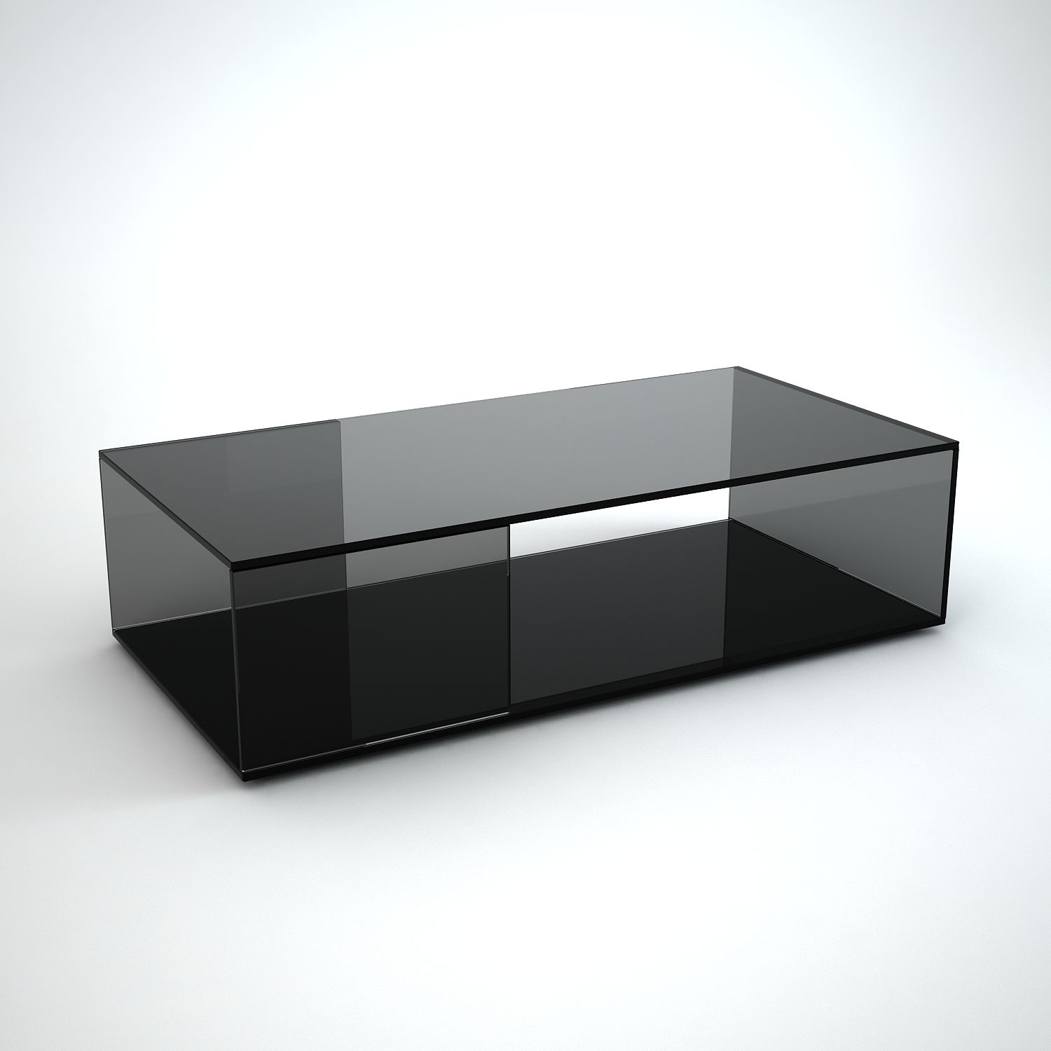 Tifino Rectangular Grey Tint Glass Coffee Table By Klarity Black