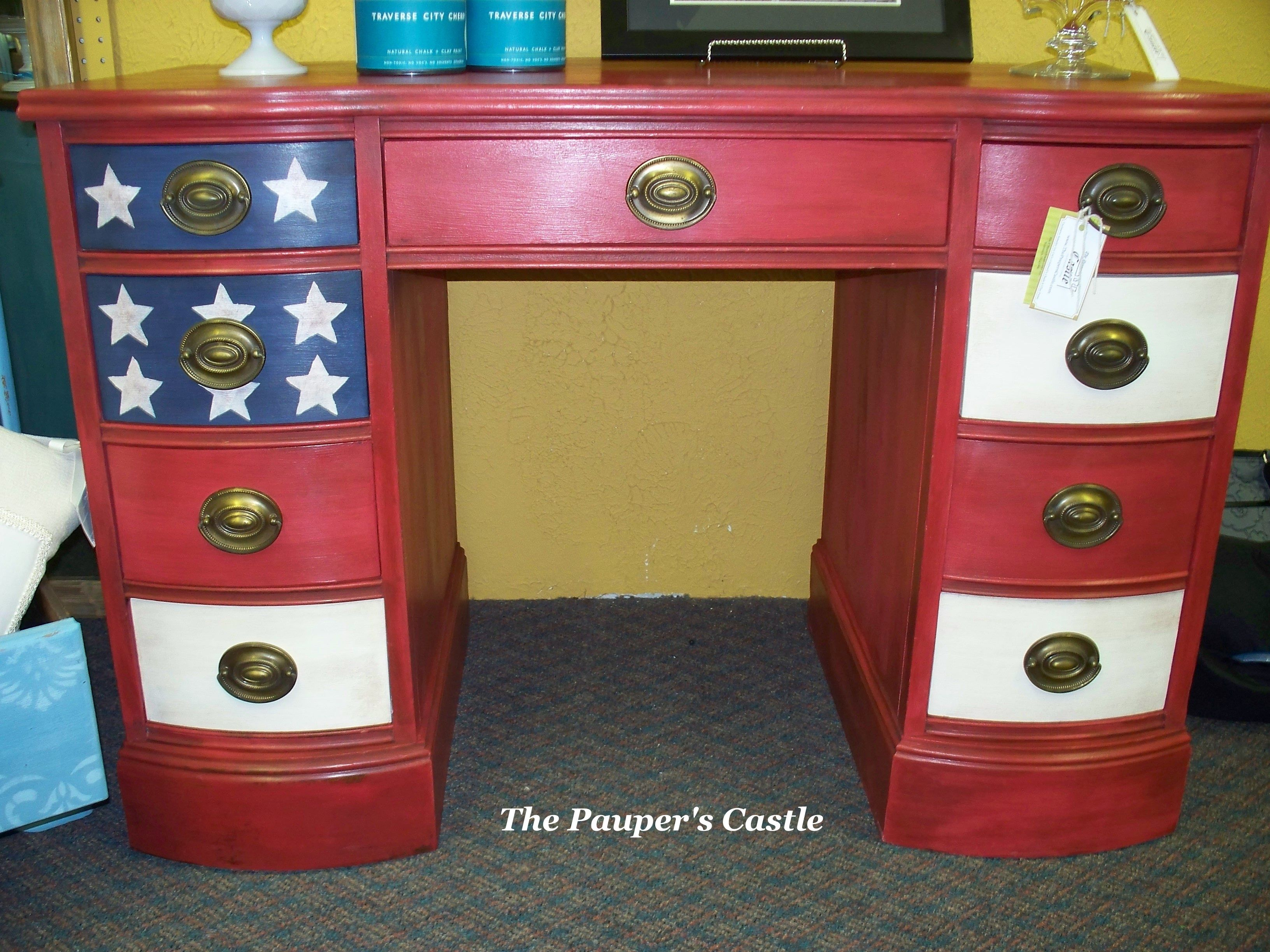 American Flag Painted Desk Painting