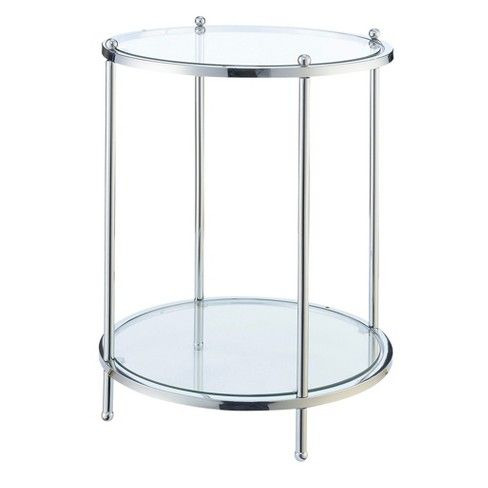 Royal Crest 2 Tier Round End Table Chrome Glass Johar Furniture End Tables Glass End Tables Convenience Concepts