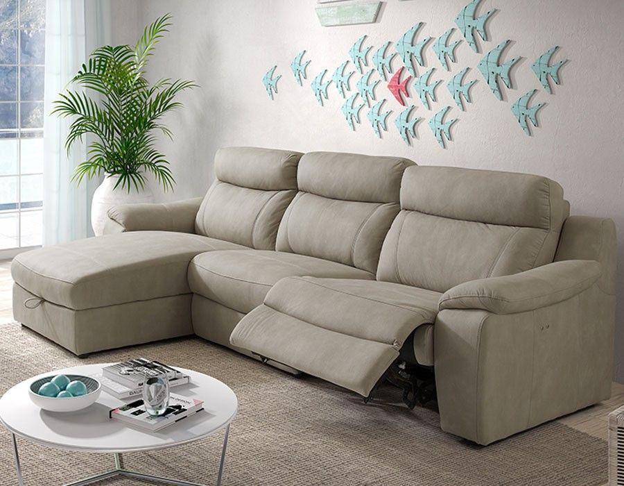 Canapé Dangle Relax électrique Avec Coffre Beige En Tissu - Canape angle tissu beige