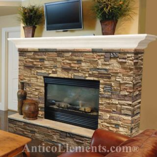 Faux rock fireplace without white mantel